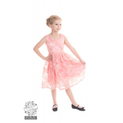 Pink Chantilly Lace Mädchenkleid