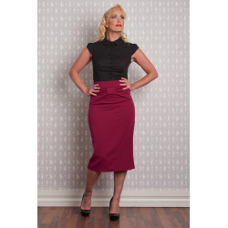 Raquel Pencil Skirt with bow (raspberry)