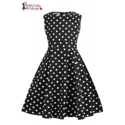Hepburn Dress Black Polka (Mädchen)