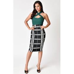 Black & White Plaid Katharine Wiggle Skirt Unique Vintage