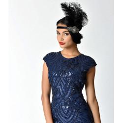 Black Feather & Charcoal Crystal Beading Stretch Headband