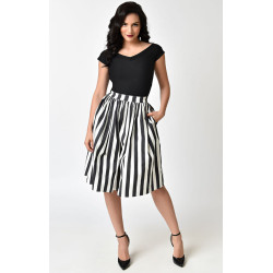 Black & White Stripe Swing Skirt Unique Vintage