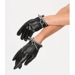 Black Leatherette Bow Short Gloves Unique Vintage