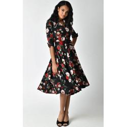 Black Floral Hudson Dress Unique Vintage
