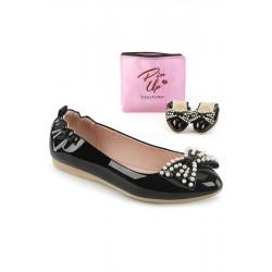 Ivy 09 Ballerina mit Perlen (schwarz)
