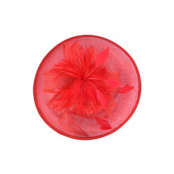 Sinamay Straw & Feather Fascinator (red)