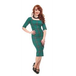 Amber Evergreen Check Pencil Dress