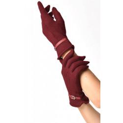 Buckle Trim Gloves Unique Vintage (rot)